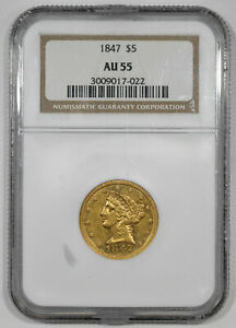 1847 LIBERTY HEAD GOLD HALF EAGLE $5 NGC CERTIFIED AU 55 ABOUT UNCIRCULATED (022