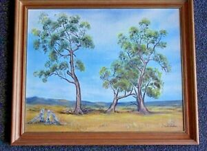 Vintage Oil Painting A Sunburnt Country Signed Claire Wrathall Monaro NSW