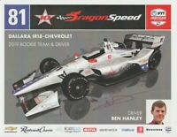 """2019 Ben Hanley signed DragonSpeed Racing """"1st Version"""" Chevy Indy Car postcard"""