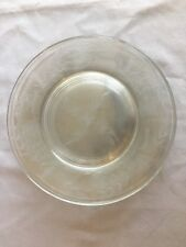 "SET of SIX Vintage Etched Glass Salad Plates Floral Flowers 8.5"" Clear"