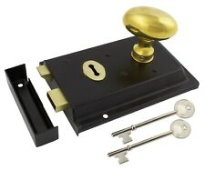 Black Brass Rim Lock Keyhole With Polished Brass Oval Mortice Rim Door Knob Pair