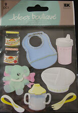 NEW 9 pc LEARNING TO EAT Baby Food Jar Sipee Cup Bib Toy JOLEE'S 3D  Stickers
