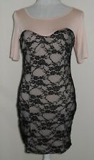 Rare pink dress with black lace overlay size 12