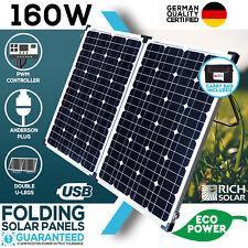 NEW 160W FOLDING SOLAR PANEL KIT 12V MONO CARAVAN BOAT CAMPING POWER BATTERY