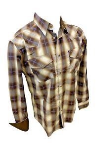 Mens RODEO WESTERN BEIGE PLAID POCKETS Long Sleeve SNAP UP Shirt Cowboy 412 NWT