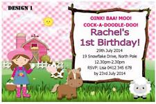1 x FARM BARNYARD CHILDRENS BIRTHDAY PERSONALISED INVITATIONS INVITES + MAGNETS