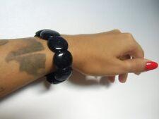 Bracelet rétro vintage perles en pierres ovales noires à reflets bleus original