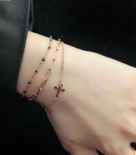 "Women Titanium Stainless Steel Bless Cross Triple Bead Mix Chain Bracelet 6-8"""