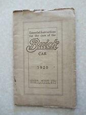 Original 1920 Buick automobile owner's manual - English edition