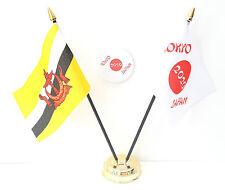 Brunei & Tokyo Japon Olympiques 2020 Bureau Drapeaux & 59mm Lot de Badges