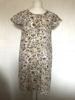 Boden Natural Beige Bold Floral Tunic Dress Size 14L 100% Cotton Short Sleeves