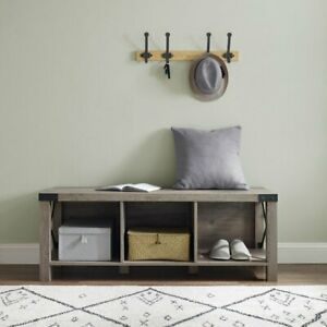 NEW Woven Paths Rustic Farmhouse Wood & Metal Entry Bench, Grey Wash