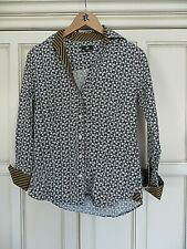 BEN SHERMAN BLACK & WHITE FLORAL/ TAN STRIPE FITTED SHIRT MEDIUM