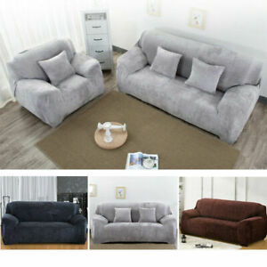 UK 1/2/3 Seater Sofa Covers Easy Fit Stretch Protector Soft Couch Cover Velvet
