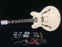 272DIY No-Soldering,Glued Neck,Semi-Hollow Body Electric Guitar DIY+Tuner,Picks