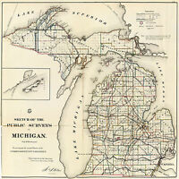 1866 Michigan Public Survey Map Wall Art Poster Print Decor Vintage History