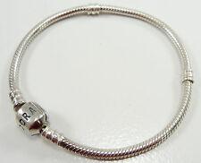 cc588efef Pandora Sterling Silver Snake Chain Charm Bracelet Barrel Clasp No Crown 7