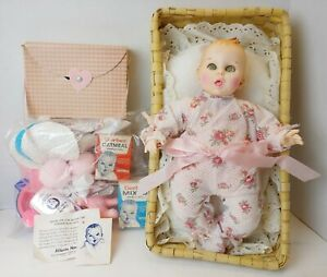 """1979 Gerber 12"""" Baby Doll Set Basket  Food Toys Dress Dishes Oneida Spoon More!"""