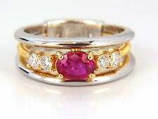 GIA Certified 1.30ct natural vivid red ruby diamonds ring 18kt coil wrap