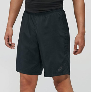 Asics Men's 2-In-1 Shorts 9 Inch Running Fitness Shorts - Black/Cobalt - New