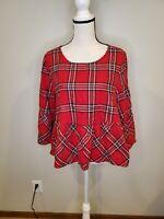 Peyton & Parker Size Large Women's Top Red Plaid Bell Sleeve Peplum Hem Shirt