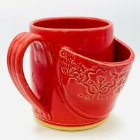 Studio Art Pottery Mug Teacup with Teabag Holder Red Signed CRM Wheel-Thrown