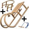 COLINT Holzschlitten Rodel 100 cm Hörnerschlitten Leine Lehne Holz Schlitten SET