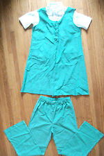 Vintage 3 Pc Girl Scout Uniform Green Jumper SS Blouse Pants Size 10