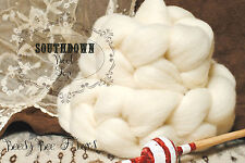 SOUTHDOWN Wool Undyed Combed Top Natural Ecru White Wool Roving Spinning 4 oz
