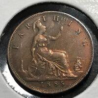 GREAT BRITAIN 1885 FARTHING HIGH GRADE COIN