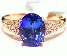 3.92CT 14K Gold Natural Tanzanite White Diamond Vintage AAAA Engagement Ring