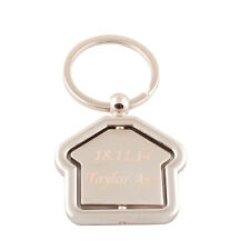 Personalised Engraved House Keychain Keyring Home Gift Custom Text Name