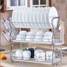 Large Dish Drying Rack Kitchen Stainless Steel Drainer Shelf Holder Organizer US