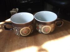 PAIR OF DENBY BROWN STONEWARE CUPS ARABESQUE SAMARKANDE GREAT CONDITION