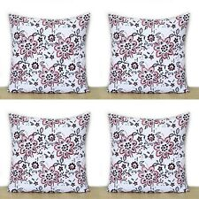 Indian Red Floral Hand Block 16x16 Cotton Pillow Case 4 Pcs Set Cushion Covers