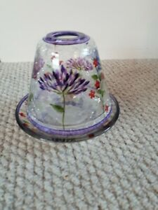 YANKEE CANDLE SHADE + TRAY CRACKLE GLASS FLORAL DESIGN  SMALL
