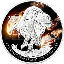 Canada 2016 20$ End of the Dinosaurs with real Meteorite Silver Coin