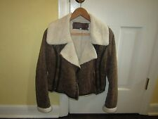 Ci Sono faux shearling moto jacket w/ fleece lining, S, brown / white, warm