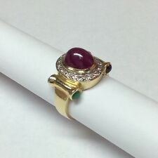 """FREE SIZING"" DIAMOND RUBY SAPPHIRE EMERALD 14K YELLOW GOLD RING SIZE 5.75"