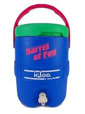 Vintage 90s Igloo Barrel of Fun 2 Gallon Water Cooler Blue Neon Green Pink