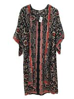 Angie Kimono Bloomindales Open Floral Rayon Black - Women Size M NWT w FLAW