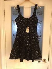 Ladies Clothes Size 8 Fashion Union Black Crochet Sequin Dress New (639)