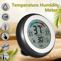 Digital Thermometer Humidity Meter Hygrometer Temperature Indoor Home ABS Black