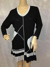 Damen Oberteil Shirt Longshirt Tunika 3/4 Arm schwarz grau Gr. 42/44