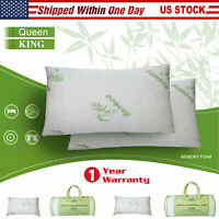King / Queen Size Shredded Memory Foam Bamboo Bed Pillow Cooling Hypoallergenic
