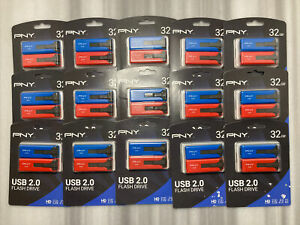 Lot Of 15 PNY 32GB USB 2.0 Flash Drive Duo Pack, Red/Blue P-FD32GX2PNY-GE