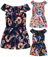 Girls Floral Playsuit Kids New Summer Party Off Shoulder Jumpsuit Age 2-14 Years