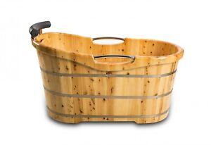 XXL Luxus freistehende Holz-Badewanne Holzbadewanne Tauchbecken Holzwanne 2021