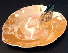 Noritake Lusterware Candle Handle Serving Dish Grape Motif Trinket Tray