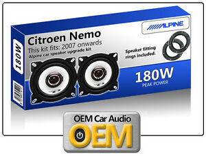 Citroen Nemo Front Door speakers, Alpine car speaker kit with Adapter Pods 180W